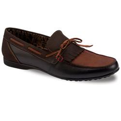 Jump OUTLET - Jump 13154 Siyah - Taba - Kahverengi Erkek Deri Ayakkabı
