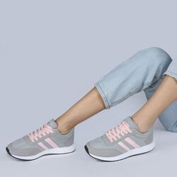 Jump 26231 Açık Gri - Açık Pembe Kadın Spor Ayakkabı - Thumbnail