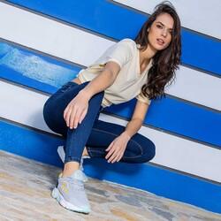 Jump 26254 Açık Gri - Mint Yeşil - Neon Sarı - Lacivert Kadın Spor Ayakkabı - Thumbnail
